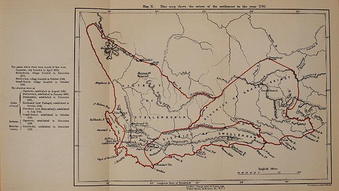 Karta över den holländska kapkolonin 1795. Klicka för större bild.